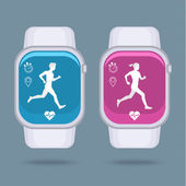 Smart watch with fitness tracker applications — Stock Vector