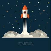 Concept of start up rocket in sky — Stock Vector