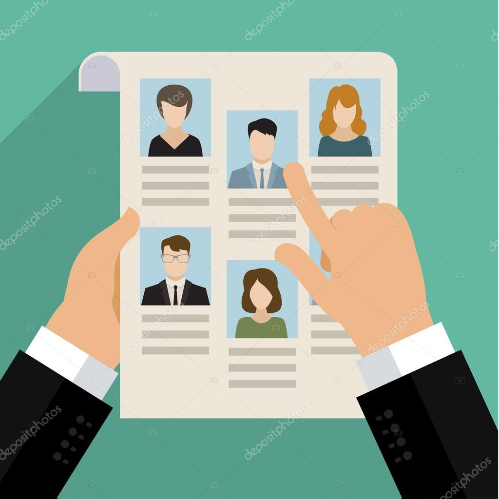 concept of searching for professional stuff stock vector vector concept of searching for professional stuff head hunter job employment issue human resources management or analysing personnel resume