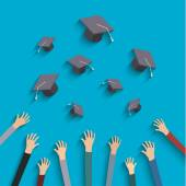 Concept of education. Graduates throwing hats — 图库矢量图片