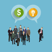 Concept of crowdfunding, group of business people — Stock Vector
