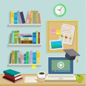 Workplace with computer for online education — Stock Vector