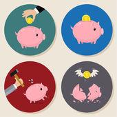 Instellen van Piggy bank — Stockvector