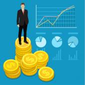 Successful business man stand on money — Stock Vector