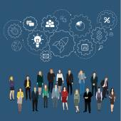 Teamwork and group of gear, partnership — Stock Vector