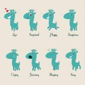 Cute deers stickers. — Stock Vector