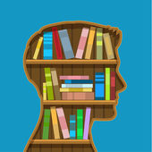 Book shelf in form of head. — Stock Vector