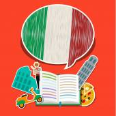 Concept of travel or studying Italian. — Stock Vector
