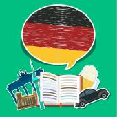 Concept of travel or studying German. — Stock Vector