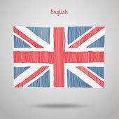 Hand getekend Engels vlag — Stockvector