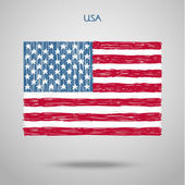 Hand Drawn United States of America Flag — Stock Vector