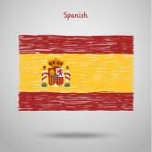Hand drawn spanish flag — Stock Vector