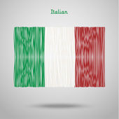 Hand drawn italian flag — Stock Vector