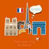 Concept of travel or studying French — Stock Vector