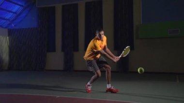 Tennis shots: Backhand (slow motion) — Stock Video