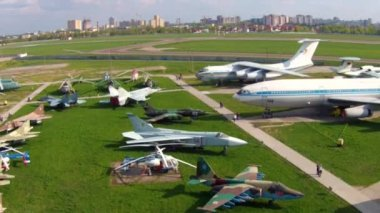 Old aircrafts at aviation museum in Kiev — Stock Video