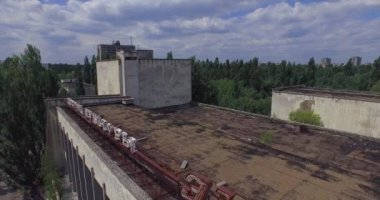 Palace of Culture (Energetik) in Pripyat town near Chernobyl (Aerial) — Stock Video