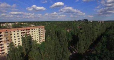 The Abandoned City of Pripyat near Chernobyl (Aerial, 4K) — Stock Video