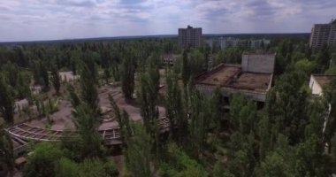 Palais de la Culture (Energetik) dans la ville de Pripyat près de Chernobyl (antenne) — Vidéo