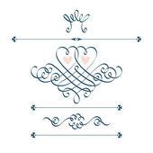 Calligraphic hearts, crown, flower — Stock Vector