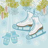 Retro ice figure skates and mittens — Stock Vector