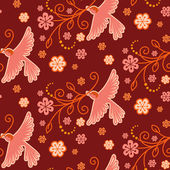 Seamless pattern with birds, flowers — Stock Vector