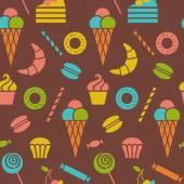 Seamless pattern with sweet dessert food — Stock Vector