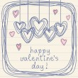 Valentine doodles card with hearts — Stock Vector #59525639