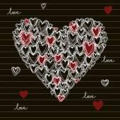 Hand getrokken doodles hart pictogram — Stockvector