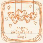 Valentine doodles card with hearts — Vector de stock