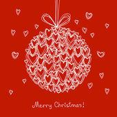 Festive ball of doodle hearts — Stockvektor