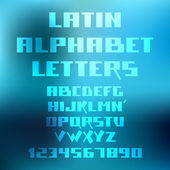 Latin alphabet letters and numbers on blurred background — Vector de stock
