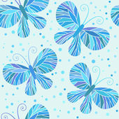 Seamless pattern with blue butterflies — Stock Vector