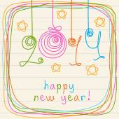 Doodles New Year's card — Stock Vector