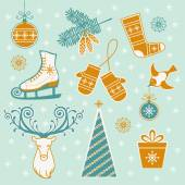 Set of christmas winter design element — Stockvector