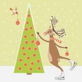 Christmas tree and skating deer — Stock Vector