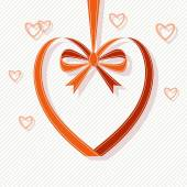Heart made from red ribbon with bow — Vetorial Stock