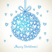 Festive ball of doodle hearts — Stock Vector