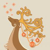 Christmas card with deer, decoration — Stock Vector