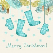Christmas background with mittens, socks — Vector de stock