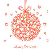 Festive ball of doodle hearts — Vetor de Stock