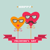 Valentines card with hipster hearts — Stock Vector