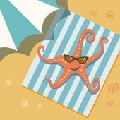 Sunbathing starfish in sunglasses on beach under umbrella — Stock Vector