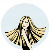 Young woman with long hair — Stock Vector