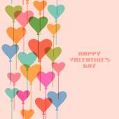 Valentine background with hearts balloons — Stock Vector