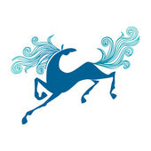 Galloping horse icon. Decorative illustration — Stock Vector
