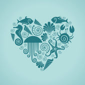 Heart of sea fauna icons — Stock Vector