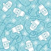 Seamless pattern with mittens and snowflakes — Stock Vector