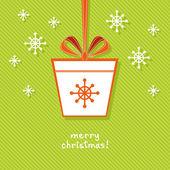 Tag Christmas gift with ribbon — Stock Vector