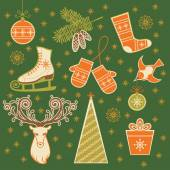 Set of Christmas winter icons — Stock Vector
